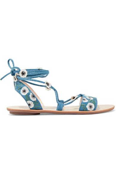 Loeffler Randall - Fleura Embroidered Denim Sandals - Blue
