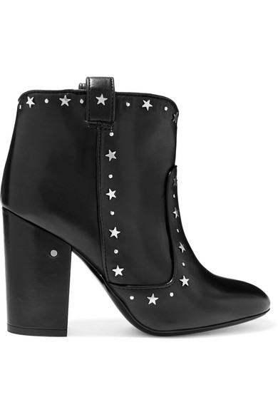 PETE STAR-STUDDED LEATHER ANKLE BOOTS