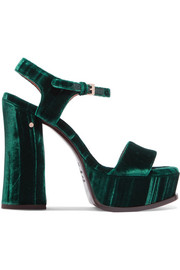 Perla crushed-velvet platform sandals