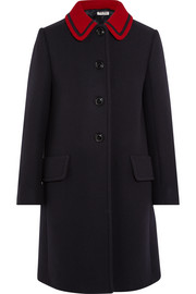 Two-tone wool-gabardine coat