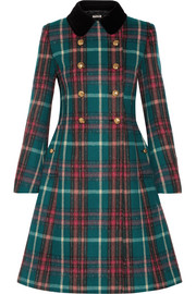 Miu Miu Velvet-trimmed double-breasted checked wool-blend peacoat