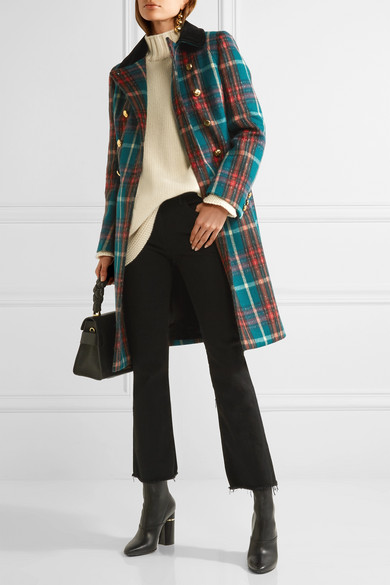 clients first 50-70%off official shop Velvet-trimmed double-breasted tartan wool-blend peacoat