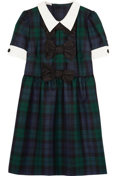 857dbe466 Miu Miu   Bow-embellished tartan wool mini dress   NET-A-PORTER.COM