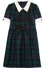 Miu Miu Bow-embellished tartan wool mini dress