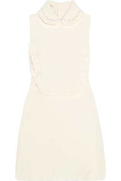 3e482cdb011 Miu Miu. Embellished ruffled wool and silk-blend mini dress