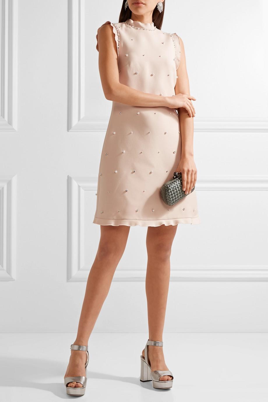 Miu Miu Verziertes Minikleid aus einer Woll-Seidenmischung mit Volants