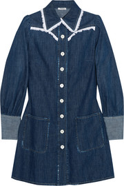 Miu Miu Broderie anglaise-trimmed denim mini dress