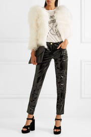 Miu Miu Cropped crystal-embellished feather jacket