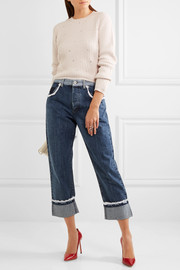 Miu Miu Broderie anglaise-trimmed high-rise straight-leg jeans