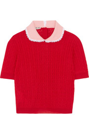 Miu Miu Lace-trimmed cable-knit cashmere and silk-blend sweater