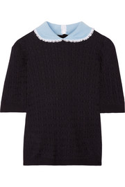 Miu Miu Broderie anglaise-trimmed cashmere and silk-blend sweater