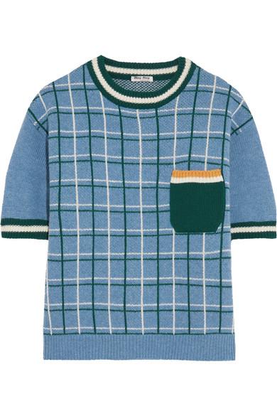 Miu Miu - Checked Wool Sweater - Sky blue