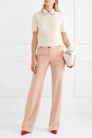 Miu Miu Pearl and crystal-embellished cashmere sweater