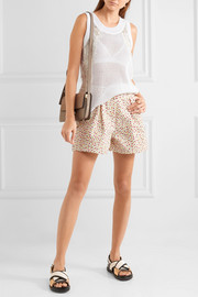 Miu Miu Pleated floral-print denim shorts