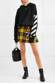 Miu Miu Appliquéd tartan wool mini skirt