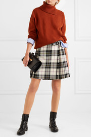 Miu Miu Leather-trimmed pleated tartan wool mini skirt