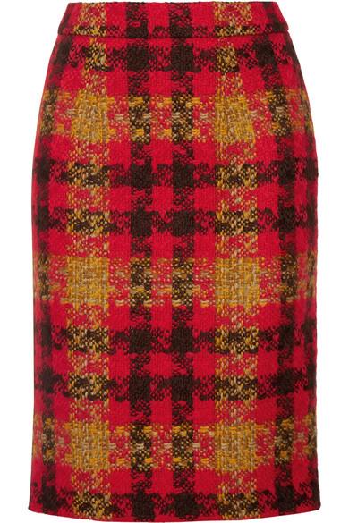 Miu Miu - Houndstooth Wool-tweed Skirt - Red