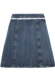 Broderie anglaise-trimmed denim mini skirt