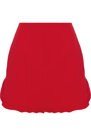 Miu Miu Ruffle-trimmed cady mini skirt