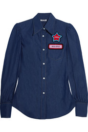 Appliquéd denim shirt