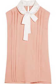 Miu Miu Embellished silk satin-trimmed pleated crepe blouse