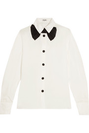 Miu Miu Satin-trimmed silk crepe de chine shirt