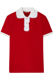 Miu Miu Lace-trimmed cotton-piqué polo shirt