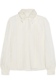Pussy-bow embellished pleated crepe de chine blouse