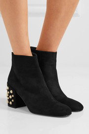 Pearlbacari embellished suede ankle boots