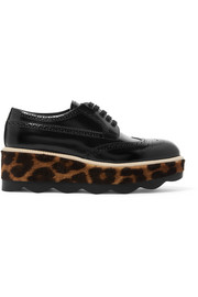 Glossed-leather and leopard-print calf hair platform brogues