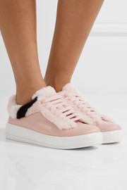 Shearling-trimmed leather sneakers