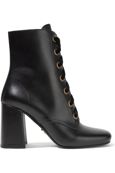 acd9d0d31a9d Prada. Lace-up leather ankle boots