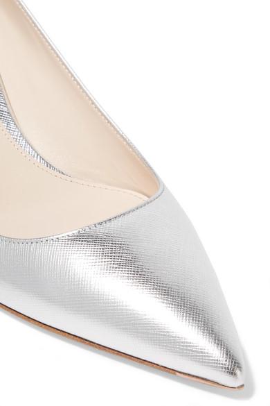 Billig Beliebt Prada Pumps aus strukturiertem Metallic-Leder Limitierter Auflage Zum Verkauf Rabatt Footaction GzBCgBNj54