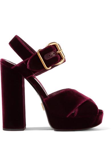 Prada - Velvet Platform Sandals - Burgundy