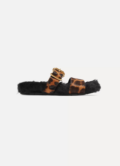 Prada - Leopard-print Calf Hair And Shearling Slides - Leopard print