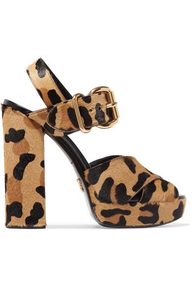 Prada - Leopard-print Calf Hair Platform Sandals - Leopard print