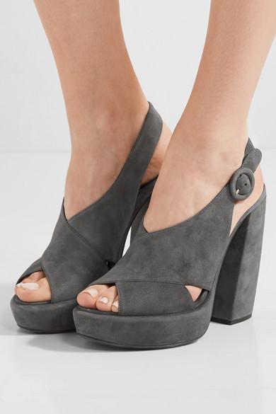 PRADA - Suede Platform Sandals - Anthracite