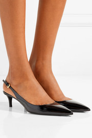 Textured patent-leather slingback pumps