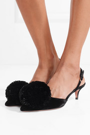 Aquazzura Powder Puff pompom-embellished velvet slingback pumps