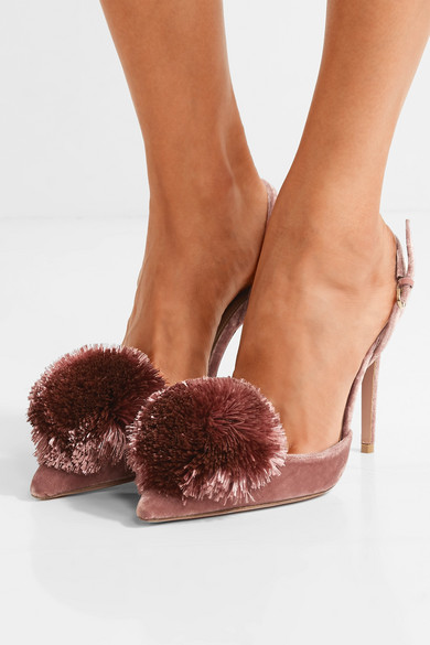 e1e35cf93 Aquazzura | Powder Puff pompom-embellished velvet pumps | NET-A ...