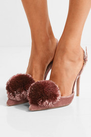 Aquazzura Powder Puff pompom-embellished velvet pumps