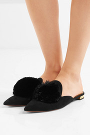 Powder Puff pompom-embellished suede slippers