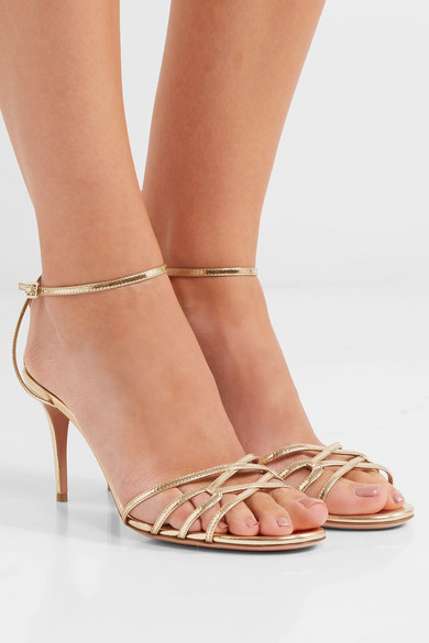 Aquazzura First Kiss Sandalen aus Metallic-Leder Komfortabel Zu Verkaufen 1zorJKF
