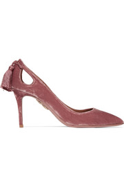 Forever Marilyn tasseled velvet pumps