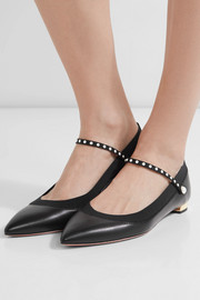 Nolita faux pearl-embellished textured-leather flats