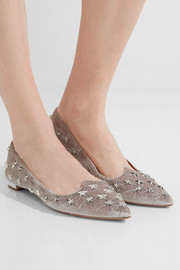Aquazzura Cosmic studded embroidered velvet point-toe flats