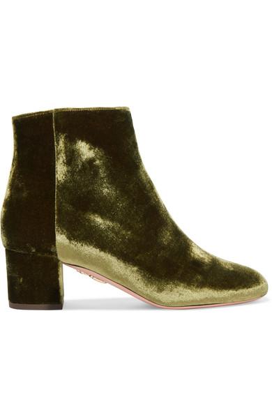Aquazzura - Brooklyn Velvet Ankle Boots - Army green