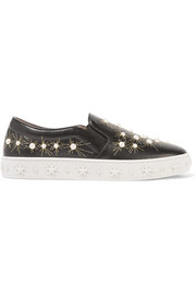 Aquazzura Cosmic embellished embroidered leather slip-on sneakers