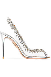 Aquazzura Temptation patent leather-trimmed PVC slingback sandals