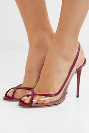 Temptation patent leather-trimmed PVC slingback sandals